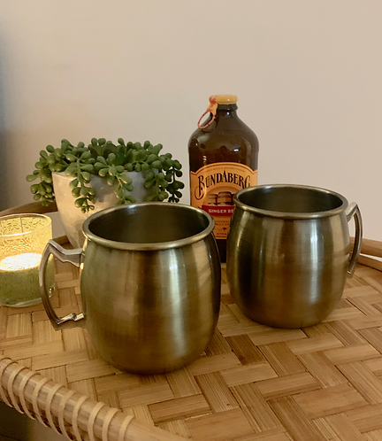Two Antique Brass Moscow Mule Mugs