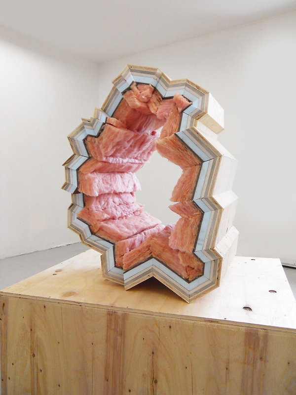 reade bryan, artist, artwork, construction materials, fiberglass insulation, art and geology