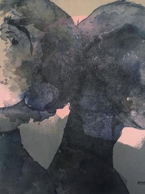 Portrait,  technique mixte sur lin  80x60x2cm à Anthony
