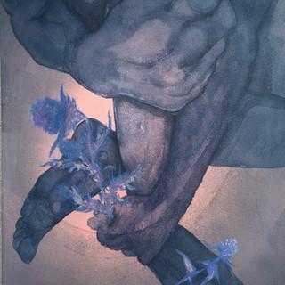 Le bouquet, 2021  acryliques, encres, crayons sur lin  châssis 65 x 50 x 2 cm