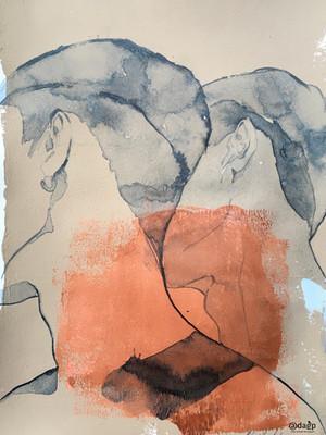 dessin sur papier recyclé sous cadre 40x30 cm