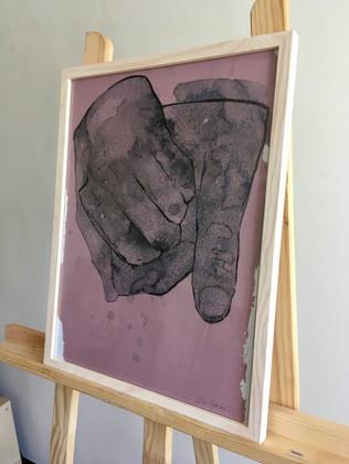 Sans titre, mains 1 technique mixte sur papier recyclé encadré bois mixed media on recycled paper, wooden frame 40x30cm € contactez-moi € contact me