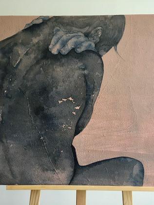 série Repenti, toile N°1 technique mixte sur lin  mixed media on linen 92x65x2cm € contactez-moi € contact me