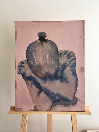 série Repenti, toile N° 2 technique mixte sur lin mixed media on linen 65x50x2cm € contactez-moi € contact me