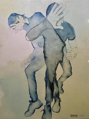 Le Bélier, série toile de liin  115x90x2 cm