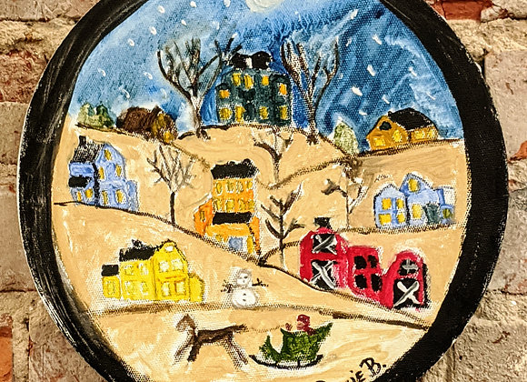 Holiday Decor - Christmas Painting on Round Canvas