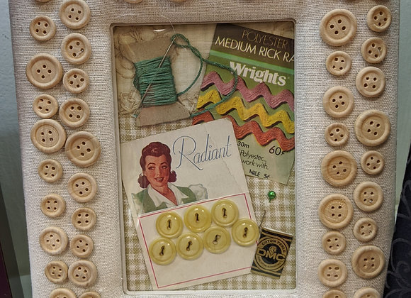 Home Decor - Vintage Sewing Collage and Frame