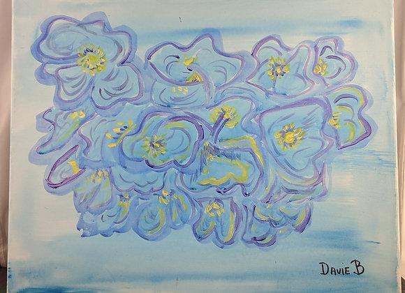Blue Hydrangea on Canvas
