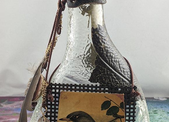 Bird and Stones Bottle Art