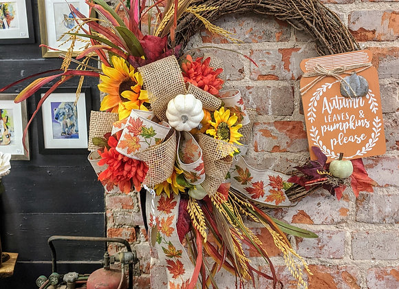 Autumn Wreath - Autumn Leaves and Pumpkins Please