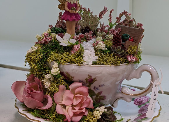 Home Decor - Rose Tea Cup Fairy Garden