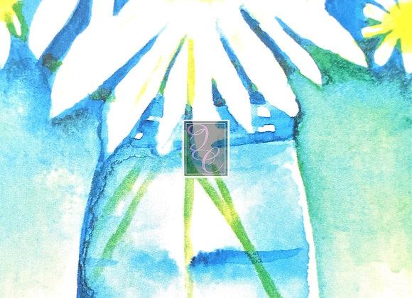 Jar of Daisies Watercolor Card