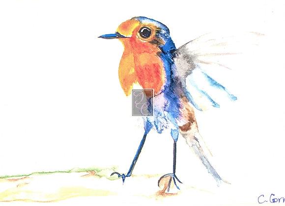 Bluebird in Flight Watercolor