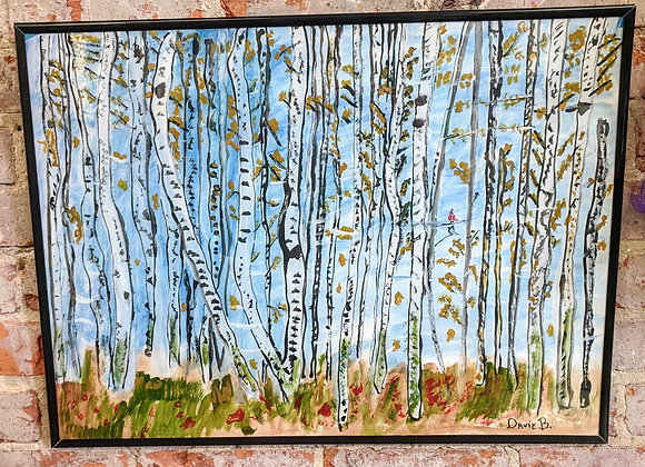 Acrylic Painting - Fall Trees Painting