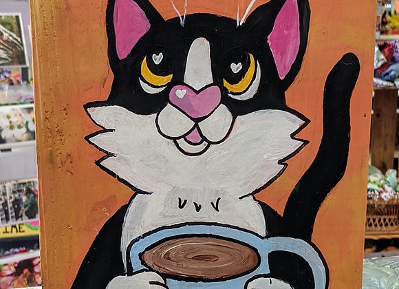 "Acrylic Painting - Hello ""Cat""puccino Wall Art"
