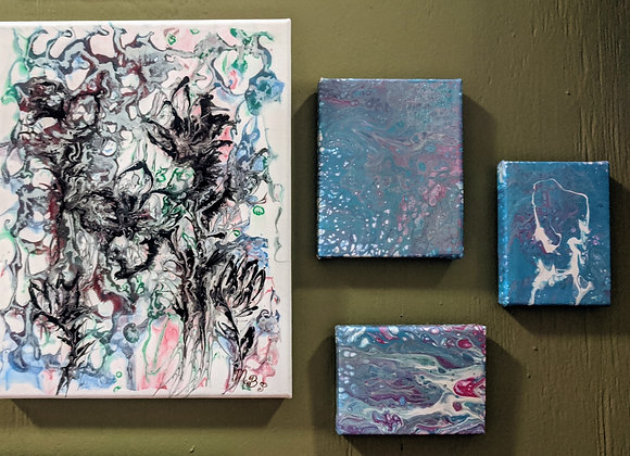 """Chinese Art"" Fluid Acrylic Art - Set of 4"