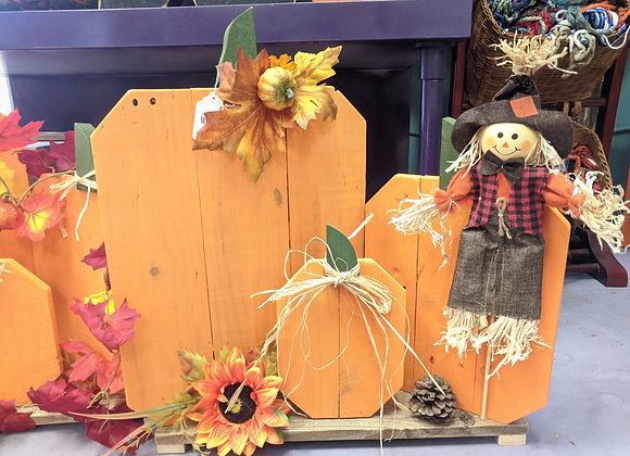 Fall Decor - Set of 3 Pumpkins with Scarecrow - Yard Art