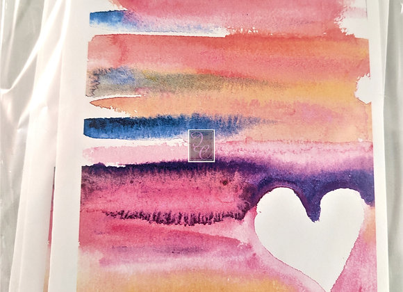 Sunset Heart Watercolor Card