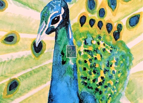 Peacock Watercolor Card