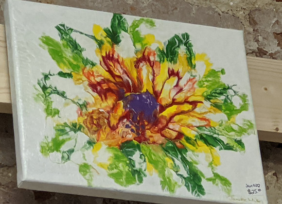 Sunflower Pour Painting