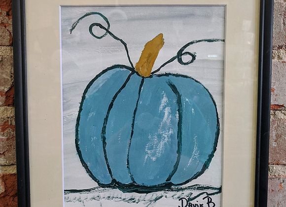 Acrylic Painting - Blue Pumpkin Painting