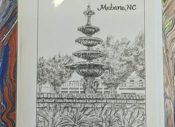 Mebane, NC Fountain Sketch Print