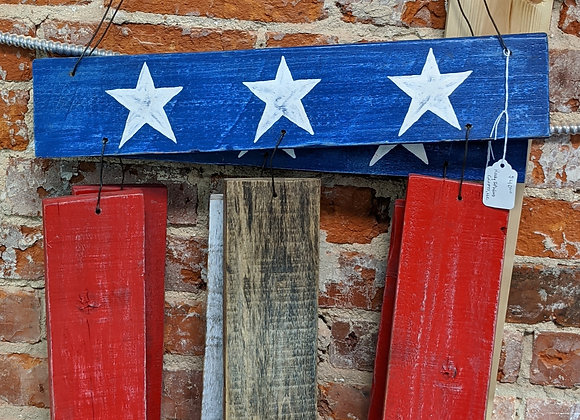 Home Decor - Patriotic Pallet Wood Hanger - Yard Art