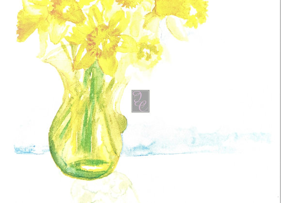 Daffodils on Sunday Watercolor Card