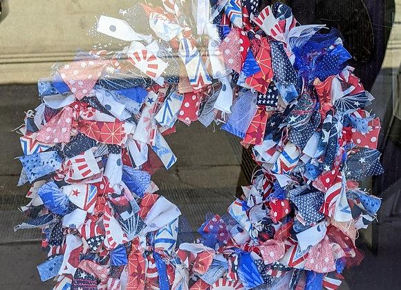 Home Decor - Patriotic Cloth Wreath
