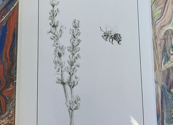 Bee and Lavender Sketch Print