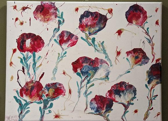 """Chinese Flowers"" Fluid Acrylic Art"