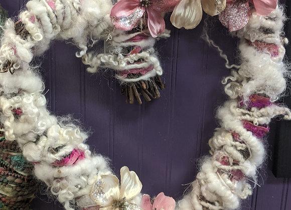 Hand Spun Wool Heart Wreaths