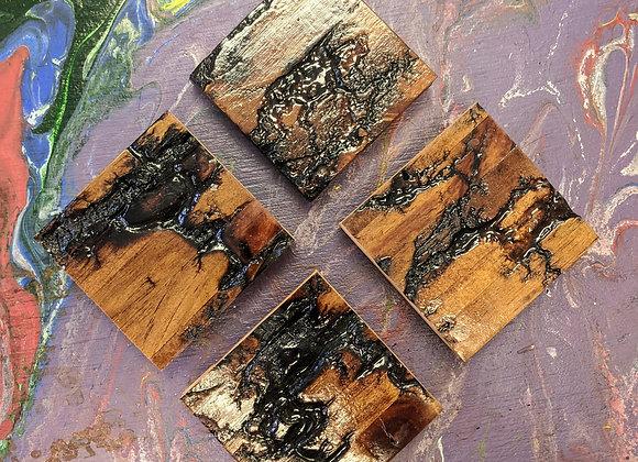 Lichtenburg Wood Burned Coaster Set