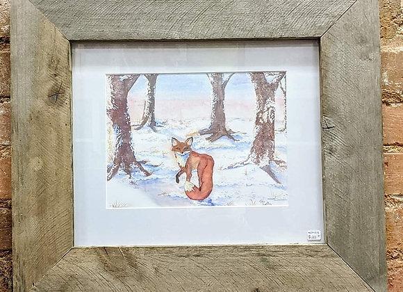 Fox in Snow Print with Handmade Frame