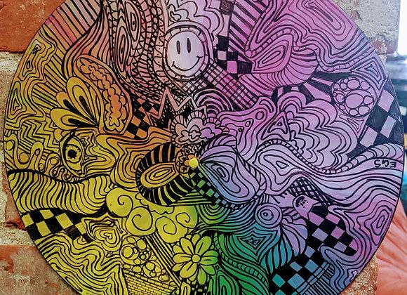 Trippy Zen Doodle Painted Record