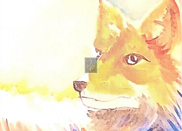 Fox in Summer Watercolor