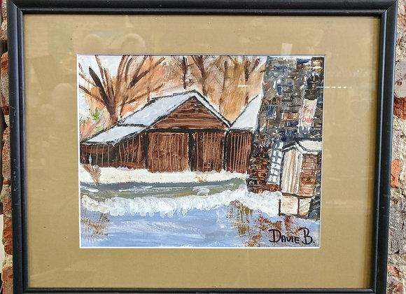 Acrylic Painting - Barn in Snow