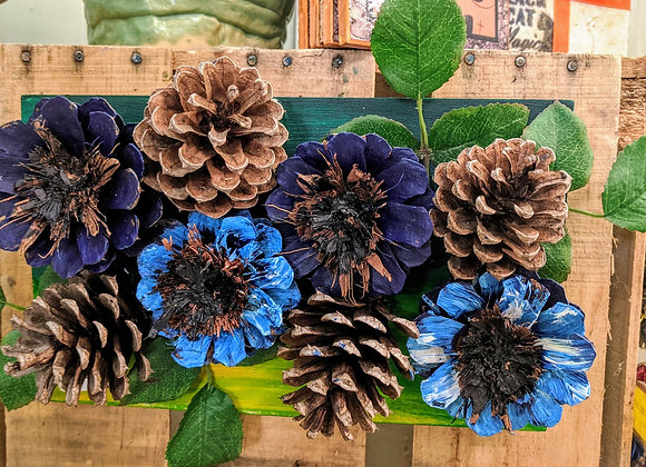 Pinecone Wall Art - Floral on Wood