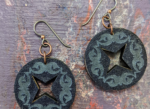 Jewelry - Simply Adorned Denim and Wood Earrings