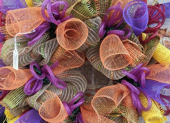 "Orange and Purple 18"" Wreath"