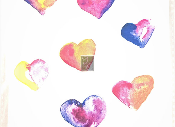 Valentine Hearts Watercolor Card