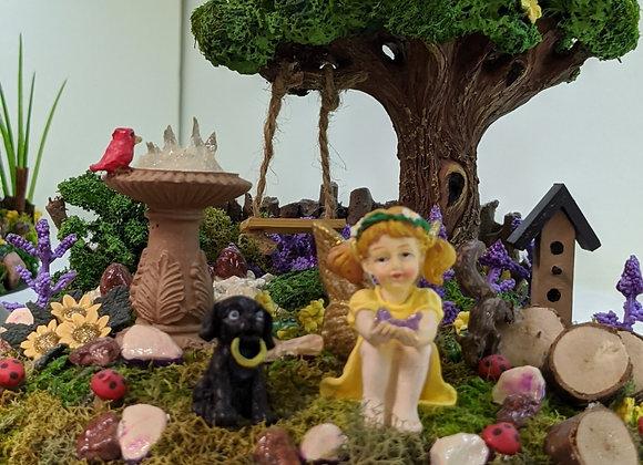 Home Decor - A Girl and Her Dog Fairy Garden