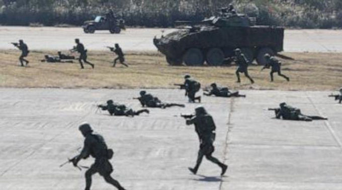 """""""Taiwan military stages drill aimed at repelling China attack"""""""