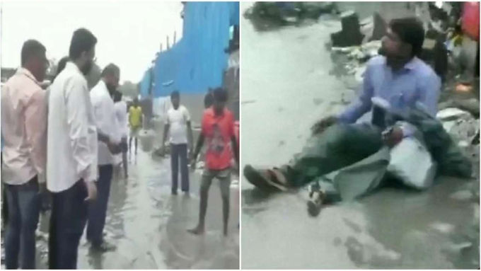 Shiv Sena MLA Makes Contractor Sit on Waterlogged Road, Has Garbage Poured on Him
