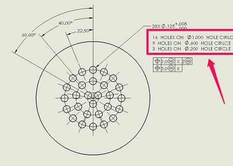 Advanced notes in SolidWorks drawings: Pattern Instance