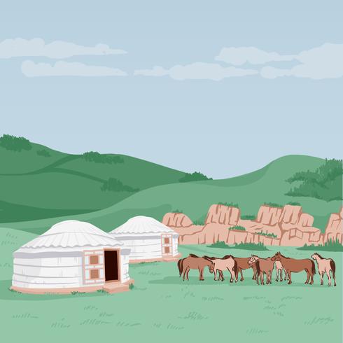 L'Asie de l'Est, un paysage de Mongolie