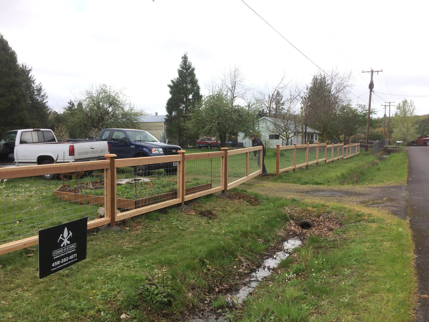 Custom Wire Grid Fence with Gate