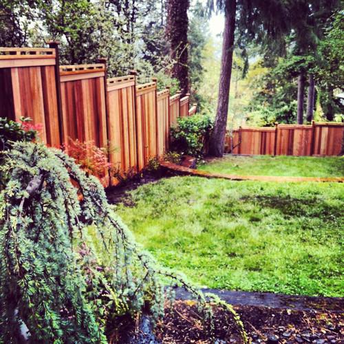 Custom Cedar Fencing - Stepped