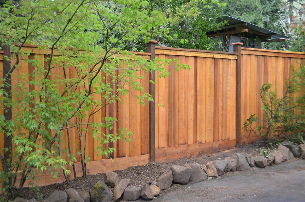 Cap & Bevel Cedar Fence on Kick Plate
