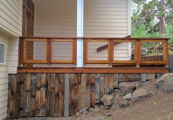 Reclaimed Cedar Deck Skirt & Wire Grid Rail